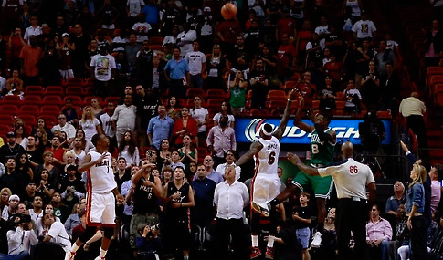 Jeff Green hits a game winning 3 pointer with .6 seconds left after Dwyane Wade FT FAIL