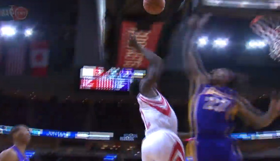Jordan Hill blocks Patrick Beverley
