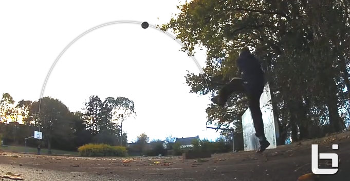 Guy makes a shot from 113 feet away…by kicking it!