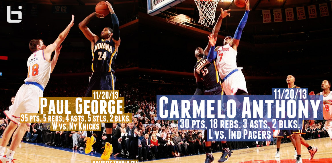 Paul George (35pts) vs Carmelo Anthony (30pts) + lots of pics of Knicks trying to stop PG