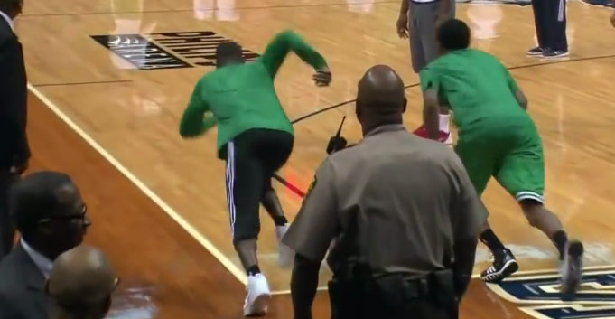 Rajon Rondo beats Marshon Brooks in a full court race