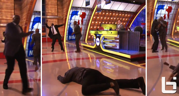 Shaq falls down while running on Inside The NBA