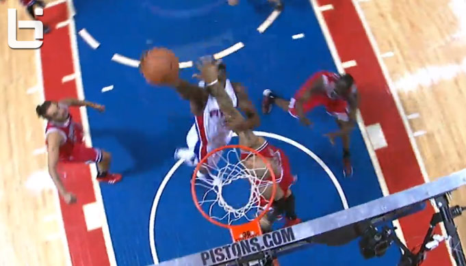 Rodney Stuckey with the dunk and the foul on Carlos Boozer