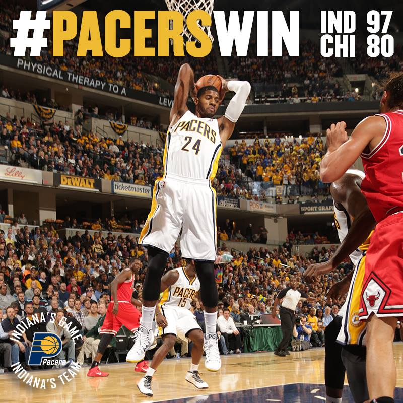 """18a518f01bd Paul George guards Derrick Rose   makes the no-look pass to Stephenson """""""