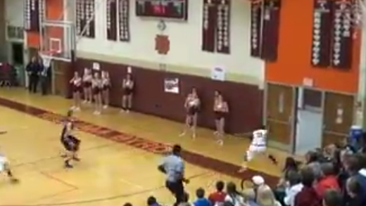 High School Player makes an amazing behind the back 3 pointer while saving the ball from going out of bounds