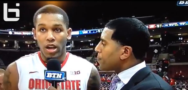 """Ohio State's Amir Williams almost said """"Coach has been on my d???"""" during a live tv interview"""