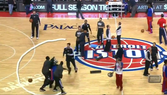 """Blatche and the Nets beat up Pistons mascot """"Hooper"""""""