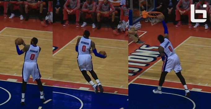 Andre Drummond snatches Greg Smith's shot out of the air + windmill dunk