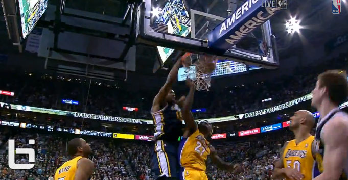 Derrick Fish…Favors makes the game winning dunk in the Lakers/Jazz game  