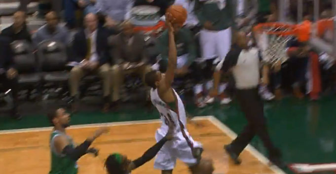 Giannis Antetokounmpo chase down block on Jordan Crawford and dunk