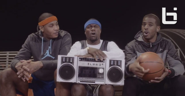 """Kevin Hart remakes Skee-Lo's """"I wish I was a little bit taller"""" w/ Melo, CP3, Kobe & Iggy"""