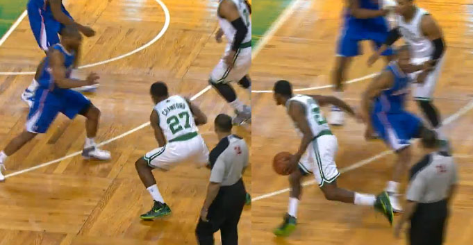Jordan Crawford crossover and fancy assist to Bass for the dunk