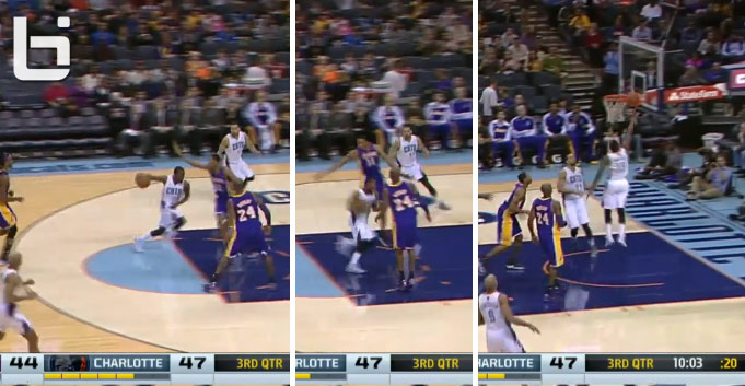 Kemba Walker scores after faking a behind the back pass