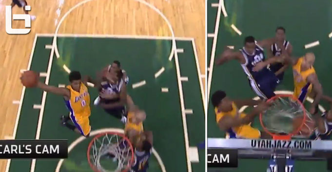 Robert Sacre saves Jeremy Evans from getting dunked on by Nick Young