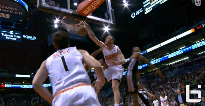 Miles Plumlee dunks on Tim Duncan