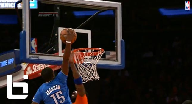 Amar'e Stoudemire gets crossed by Durant & dunked on by Reggie Jackson for Christmas