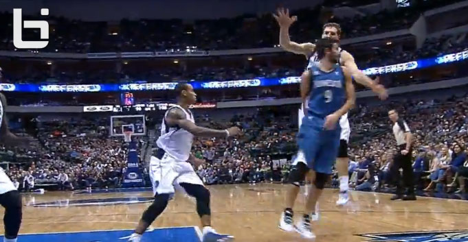 Assist of the Night: Ricky Rubio's behind the back pass around Dirk