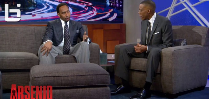 Stephen A. Smith disagrees with Jim Brown & defends Kobe Bryant on the Arsenio Hall Show