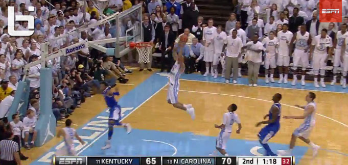 UNC's Brice Johnson alley-oop dunk against Kentucky