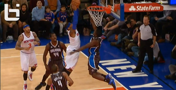 Victor Oladipo rejects Carmelo Anthony's dunk attempt