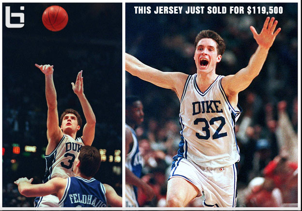 "Christian Laettner's ""The Shot"" jersey sells for $119,500 (15k more than Jordan's Flu shoes)"