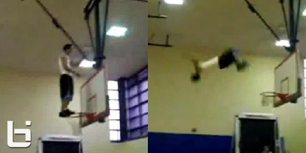 Guy does a backflip off a basketball rim