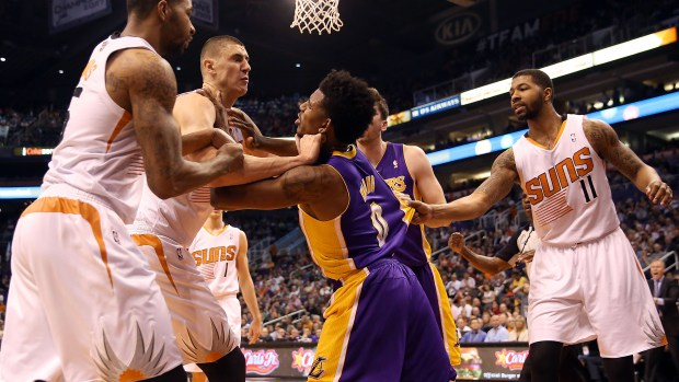 Lakers' Nick Young Ejected for Punching & Shoving two Suns Players