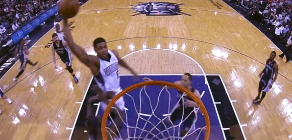 Rudy Gay laughs after dunking on Zach Randolph