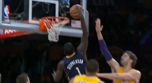 7eda0f96d8e5 Lance Stephenson sets career high in rebounds and throws down a dunk vs the  Lakers