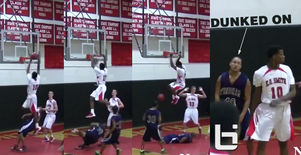 Man Down! Junior Rahim Mama embarrasses defender with a power dunk