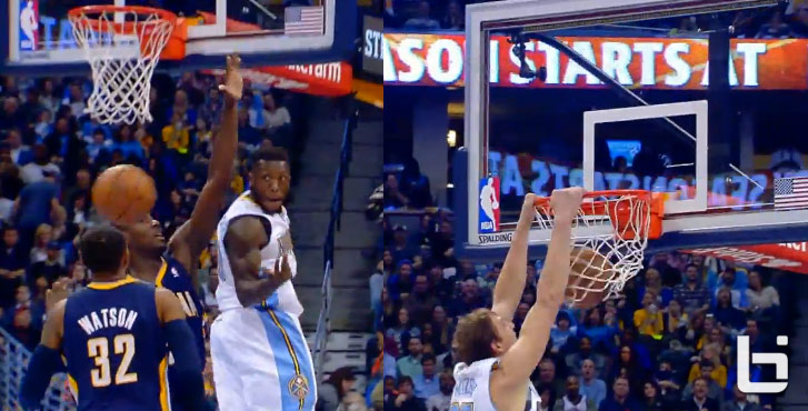 Nate Robinson does a Penny Hardaway like over the shoulder pass to Mozgov for the dunk