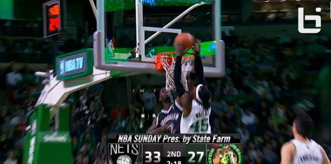 Gerald Wallace throws down a dunk on KG on tribute night