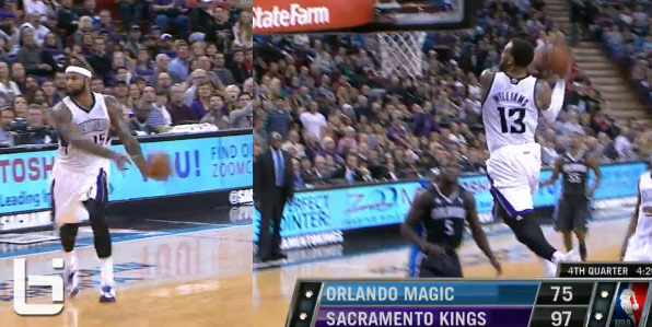 DeMarcus Cousins no look pass to Derrick Williams for the 2 hand windmill #VoteDMC