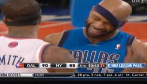 J.R. Smith messes with Vince Carter s headband  Dallas Mavericks at New York Knicks   YouTube