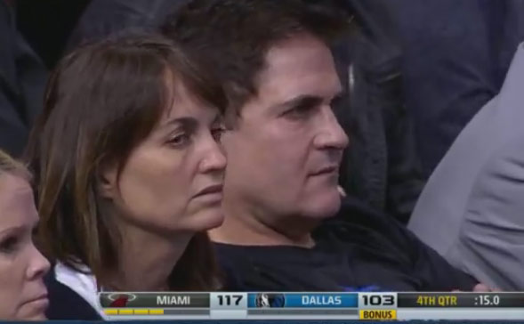 Mark Cuban looking pissed after Chris Andersen buried a 3 pointer in Heat win