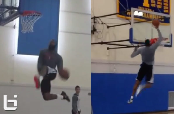 James Harden and Dwight Howard have a mini-dunk contest in practice