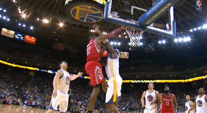 Jermaine O'Neal gets dunked on by Dwight then blocks Chandler Parson's dunk to save the game
