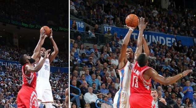 Kevin Durant scores 42 points against Harden and the Rockets (11th 40+ game this season)