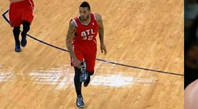 Mike Scott makes a 3 with 1 shoe on.  Misses all 6 3-pointers with 2 shoes on.