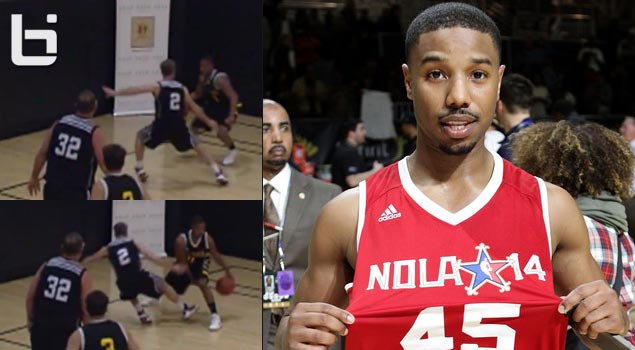 Michael Jordan with the ankle breaker in a celeb game…no, not the Michael Jordan but B. Jordan