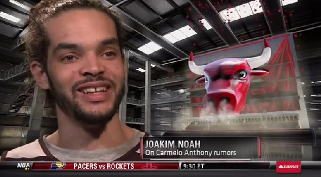 Joakim Noah does his best teenage girl impersonation when asked about Melo to Bulls rumors