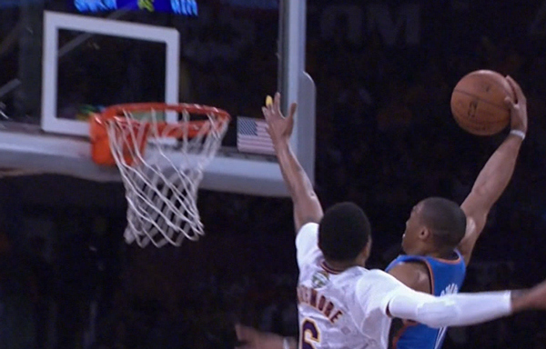 Kent Bazemore gets dunked on by Westbrook & celebrated an airball by Jodie Meeks