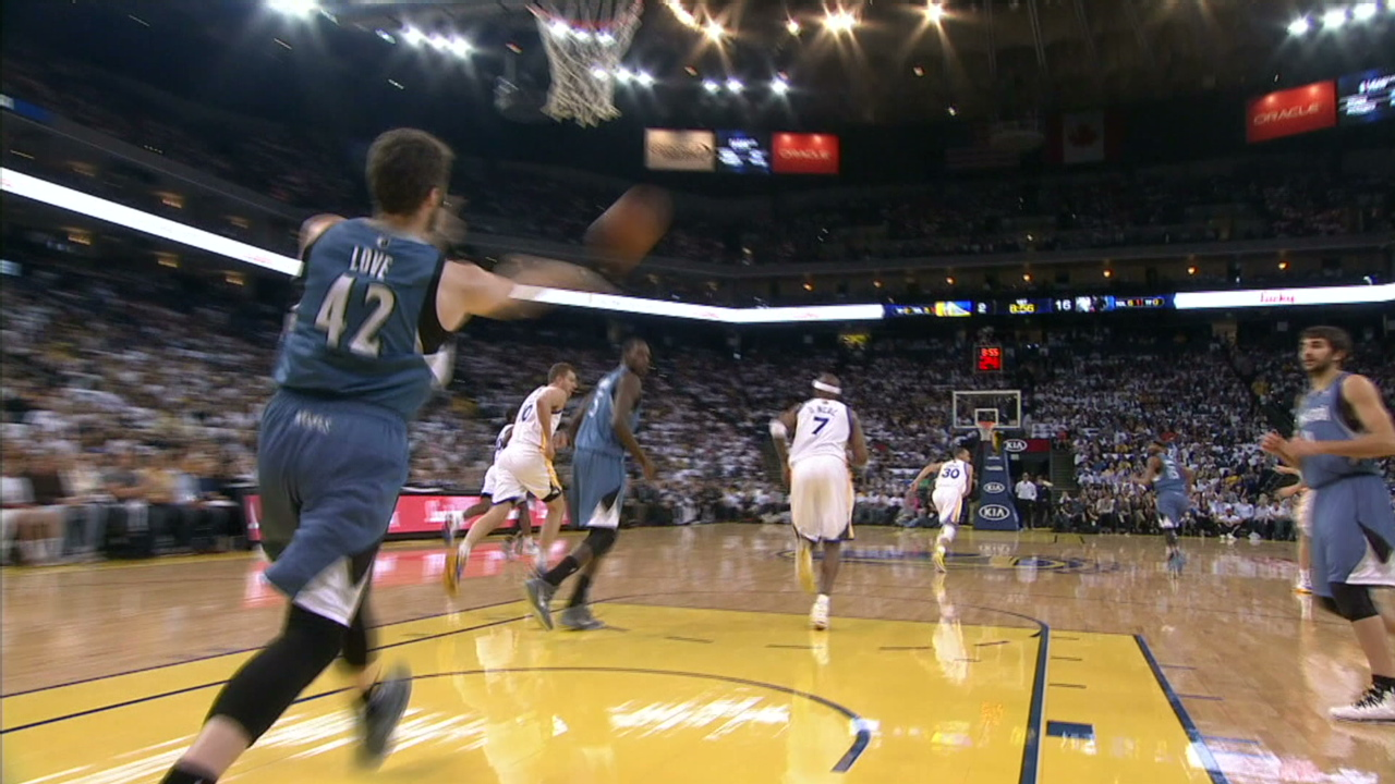 Kevin Love and Andre Miller with the full court touchdown passes