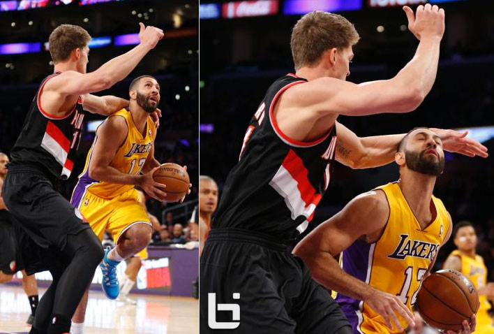 Meyers Leonard Gets Ejected For Flagrant Foul On Kendall Marshall