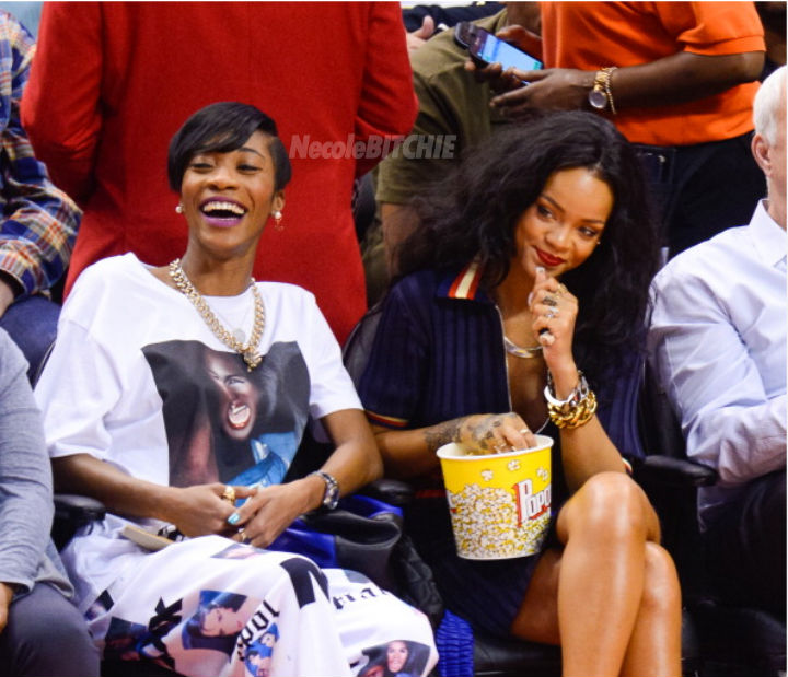 Melissa-Forde-and-Rihanna-Clippers-game-Drkae