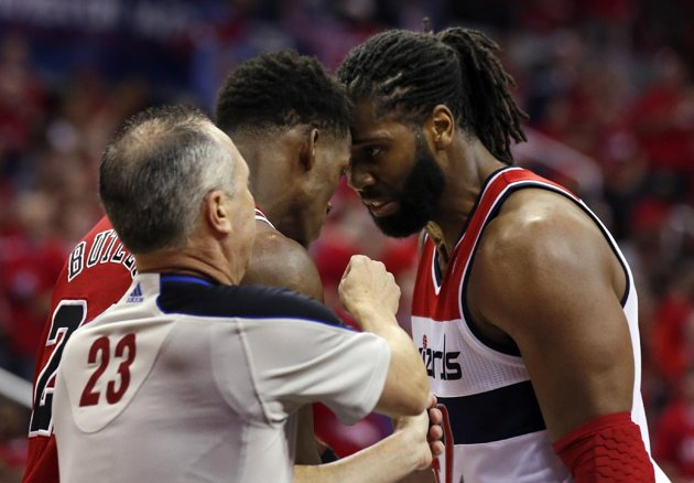 Nene gets Ejected after grabbing Jimmy Butler around the neck