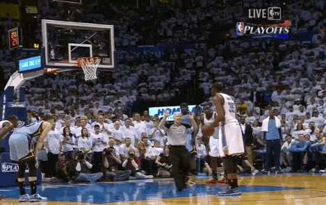 Joey Crawford interrupts Kevin Durant at free throw line