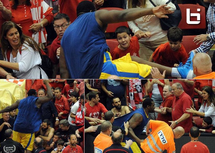 """Sofoklis """"Baby Shaq"""" Schortsanitis goes into crowd after a fan that said  """"I will rape your daughter and son"""""""