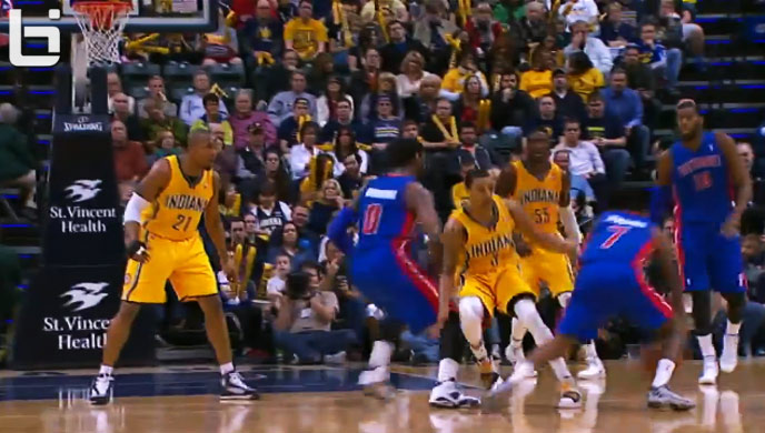 Brandon Jennings crosses up George Hill then hits a 3