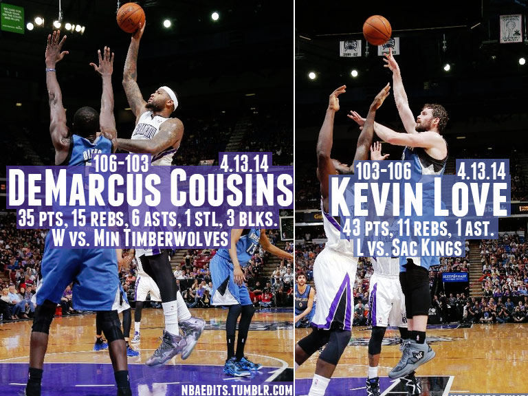 Kevin Love (43/11) vs DeMarcus Cousins (35/15) in Kings win